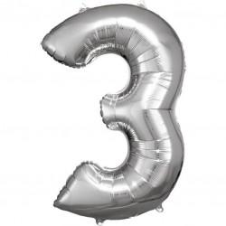 Grosse Zahl 3 Silber Folienballon N34 verpackt 53 cm x 88 cm