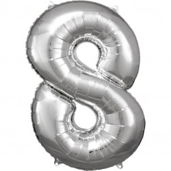 Grosse Zahl 8 Silber Folienballon N34 verpackt 53 cm x 83 cm