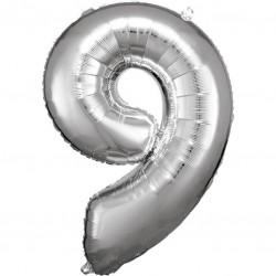 Grosse Zahl 9 Silber Folienballon N34 verpackt 63 cm x 86 cm