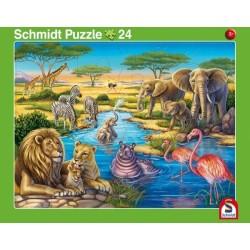 2er Set Rahmenpuzzles Tiere in Afrika 24 Teile Tiere am Nordpol 40 Teile