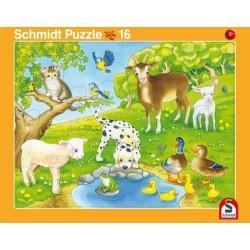 2er Set Rahmenpuzzles Kuschelige Tierfreunde 16 Teile Niedliche Tierkinder 24 Te