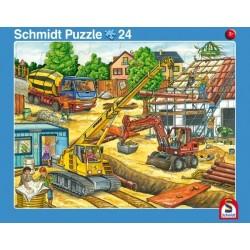2er Set Rahmenpuzzles Fahrt mit dem Müllauto 16 Teile Achtung, Baustelle! 24 Tei