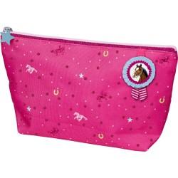 Kulturtasche Pferdefreunde, pink (mit Glimmer Stickerei)